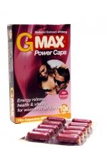 G-Max Power Caps Femme (10 gélules) - Le booster de Libido pour femmes 100% naturel : augmente le Désir et le Plaisir. Effets Puissants et Rapides.