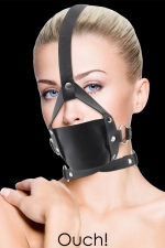 Baillon Leather Mouth Gag - Ouch - Bâillon BDSM réglable, en cuir noir, pour hommes et femmes, marque Ouch!