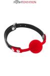 Baillon boule rouge - Fetish Tentation - Bâillon boule avec boule rouge en silicone offrant un maximum de confort et d'hygiène.