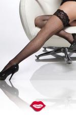 Bas résille couture Stay Up - Bas résille autofixants, avec une délicate jarretière de dentelle.