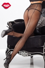Collant résille couture et strass - Collants en résille avec une couture arrière éclairée de strass qui remonte le long des jambes.