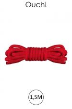 Mini corde de bondage 1,5m rouge - Ouch - Corde douce spécial bondage, longueur 1,5m en nylon rouge, par la marque spécialiste du bondage Ouch!