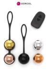 Coffret training balls - Dorcel - Coffret de 5 boules de Geisha interchangeables, vibrantes avec télécommande à distance, par Dorcel.