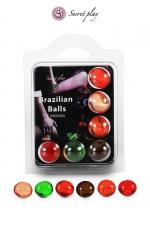 6 Brazilian Balls parfums variés - La chaleur du corps transforme la brazilian ball en liquide glissant parfumé, votre imagination s'en trouve exacerbée.