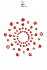 Bijoux de seins Mimi rouges - Bijoux de corps en strass rouges à poser en corole autour du mamelon pour un effet sexy garanti.