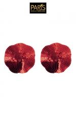 Nipples rouges sequin - Paris Hollywood - Caches tétons auto-adhésifs en forme de pétale rouge, recouverts de sequins brillants, pour sublimer votre poitrine.