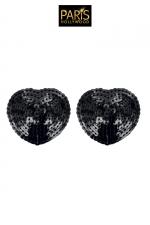 Nipples noirs sequin - Paris Hollywood - Caches tétons auto-adhésifs en forme de pétale noir, recouverts de sequins brillants, pour sublimer votre poitrine.
