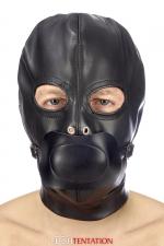 Cagoule BDSM simili cuir avec baillon amovible - Fetish Tentation - Cagoule BDSM haute qualité en simili cuir, avec bâillon amovible et ouverture pour les yeux.