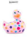 Mini canard vibrant Happiness rose - Déclinaison rose et multicolore du célèbre canard vibrant dans la collection Happiness.  I Rub My Duckie est désormais en version 2.0.