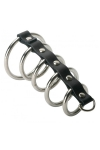 5 anneaux de chasteté - Gates of hell - 5 anneaux de pénis en métal reliés entre eux pour rendre votre érection délicieusement inconfortable, par XR Brands.