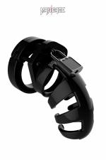 Cage de chasteté 9cm ManCage 02 noir - Cage de chasteté ajustable pour homme, noire, longueur 9 cm, d'un design légèrement plus ouvert que le Modèle 1 de la marque.