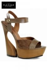 Sandales compensées Swan - Sandales compensées au look nature 70's en cuir et suédine, talons de 15 cm.