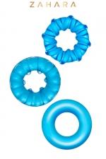 3 Cockrings Strech Rings bleu - Zahara - Set de 3 anneaux péniens extensibles en TPR permettant de stimuler les fonctions érectiles. Coloris bleu translucide.