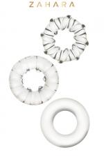 3 Cockrings Strech Rings Clear - Zahara - Set de 3 anneaux péniens extensibles en TPR permettant de stimuler les fonctions érectiles. Transparent.