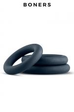 Kit de 3 anneaux de pénis - Boners - 3 cockrings classiques de dimensions différentes en silicone extensible, doux et confortable à porter, idéal pour les débutants comme les experts.