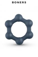 Cockring Hexagonal avec billes en acier - Boners - Anneau pénien en forme d'hexagone en silicone extensible équipé de 6 billes stimulantes en acier.