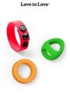 Kit Neon Ring - Love to Love - 3 cockrings en silicone ultra doux et couleur fluo pour varier les plaisirs.