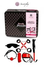 Kit BDSM 8 pièces - Rouge & Noir - Superbe kit de 8 pièces BDSM présenté dans une boite cadeau en métal.
