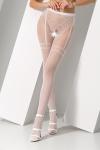 Collants ouverts S012 - Blanc - Collants ouverts en résille blanche avec un motif élégant de culotte et jarretelles.