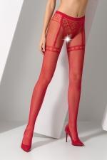 Collants ouverts S012 - Rouge - Collants ouverts en résille rouge avec un motif élégant de culotte et jarretelles.