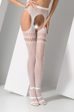 Collants ouverts S013 - Blanc - Collants ouverts en résille fantaisie blanche, avec effet porte jarretelles.