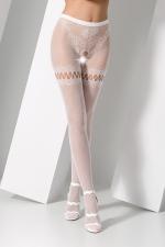 Collants ouverts S015 - Blanc - Collants ouverts en résille blanche extensible avec un motif de tanga sensuel.