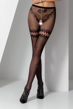 Collants ouverts S015 - Noir - Collants ouverts en résille noire extensible avec un motif de tanga sensuel.