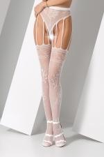 Collants ouverts S016 - Blanc - Collants ouverts en résille blanche fantaisie à motif de roses.