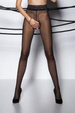 Collants ouverts TI001 - noir - Collants ouverts à l'entre-jambes en voile noir, avec une large ceinture dentelle.