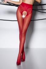 Collants ouverts TI006 - rouge - Collants ouverts en voile 30 deniers rouge, largement ouvert sur le pubis et les fesses.