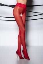 Collants ouverts TI008 - rouge - Collants ouverts en voile rouge 30 deniers, avec une large ceinture en dentelle élastique.