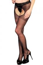 Collant ouvert Lola - Anne d'Alès - Collant noir avec ceinture en dentelle, dévoilant votre intimité très sensuellement.