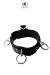 Collier 3 rings - Spartacus - Collier BDSM en cuir avec 3 anneaux de bondage, boucle à anneau pour cadenas, et attache de bondage dorsal.