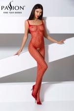 Combinaison BS071 - Rouge - Combinaison sexy en résille rouge à motifs géométriques, avec une belle ouverture intime du pubis jusqu'aux fesses.