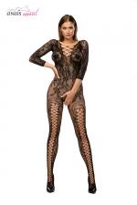 Combinaison résille Mirabella Noir - Anaïs - Combinaison en résille fantaisie à manches longues, avec une ouverture intime très sexy.