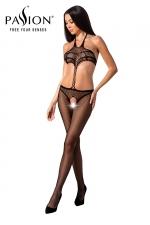 Combinaison résille BS080 - Noir - Combinaison ouverte effet ensemble de lingerie et string de la marque Passion.