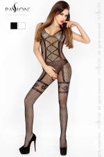 Combinaison Hip Cross Passion - Combinaison sexy en r�sille, d�cor�e d'un motif lingerie aux lignes excitantes.