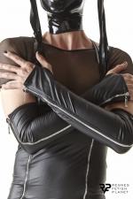 Gants longs en wetlook avec fermetures éclair - Regnes - Superbes gants longs esprit Cross Dresser avec fermeture eclair couleur acier. Fabriqués en Europe.