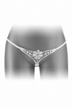 String ouvert Danuta - blanc - String blanc très coquin, ouvert entre les jambes, pour faire monter le désir dès le premier regard, par Fashion Secret.