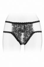 Culotte ouverte Emma - noir - Culotte coquine noire en fine dentelle et  bordures à cils, ouverte entre les cuisses, par Fashion Secret.