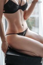 Slip échancré tulle et broderies - Slip femme très sensuel en tulle transparent brodé devant.