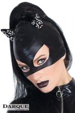 Masque chat Darque - Un masque de chat(te) en wetlook aux oreilles brod�es de perles cristal, f�line de charme.