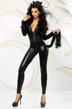 Catchy - costume avec cagoule et queue - Combinaison intégrale moulante effet wetlook, avec cagoule et queue faite de lanières faux cuir.