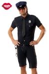 Costume Policeman - Costume 5 pièces de Policier : chemise et cravate, short, ceinture, casquette et menottes.