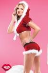 Costume short et top Mère Noël - Costume sexy de Mère Noël 2 pièces, short et top à capuche en velours rouge bordé de fourrure toute douce.