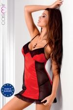 Robe lingerie Rio - Robe sexy fantaisie en satin extensible d'un rouge éclatant décoré de dentelle, avec de fines bretelles croisées qui offrent un magnifique effet décolleté dans le dos.