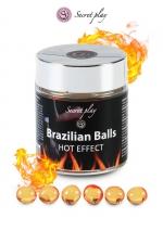 6 Brazillian balls - effet chaleur - La chaleur du corps transforme la brazilian ball en liquide glissant à effet chaud, votre imagination s'en trouve exacerbée.