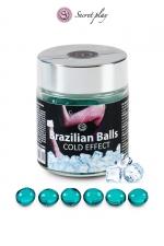 6 Brazillian balls - effet frais - La chaleur du corps transforme la brazilian ball en liquide glissant à effet frais, votre imagination s'en trouve exacerbée.