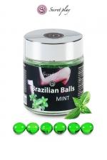 6 Brazillian balls - menthe - La chaleur du corps transforme la brazilian ball en liquide glissant au parfum menthe, votre imagination s'en trouve exacerbée.