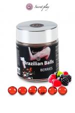 6 Brazillian balls - baies rouges - La chaleur du corps transforme la brazilian ball en liquide glissant au parfum de baies rouges, votre imagination s'en trouve exacerbée.